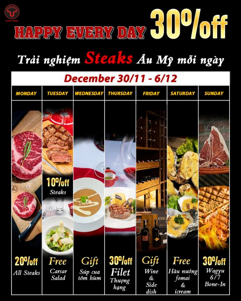 FOR YOU STEAKHOUSE - HAPPY EVERY DAY 30% OFF